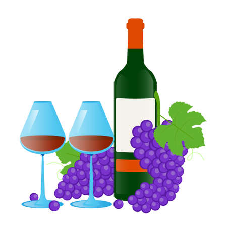 Vector illustration, two glass glasses, a bottle of wine and a bunch of grapes on a white background