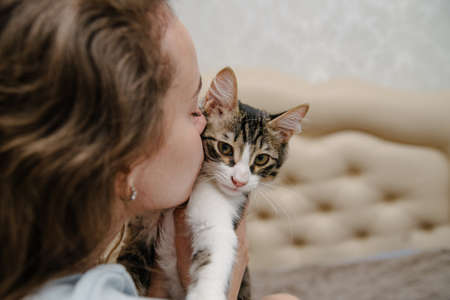 Young woman kisses a cat.Girl with cat.Beautiful young woman with cat resting at home.Pets and people
