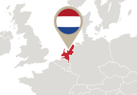 geographical locations: Europe with highlighted Netherlands map and flag Illustration