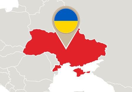 Europe with highlighted Ukraine map and flag Vector