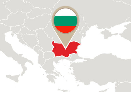 Europe with highlighted Bulgaria map and flag Stock Illustratie