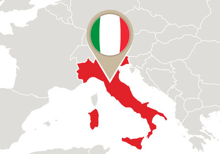 geographical locations: Europe with highlighted Italy map and flag