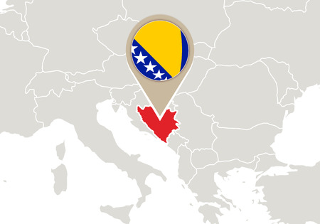 bosnia: Europe with highlighted Bosnia and Herzegovina map and flag Illustration