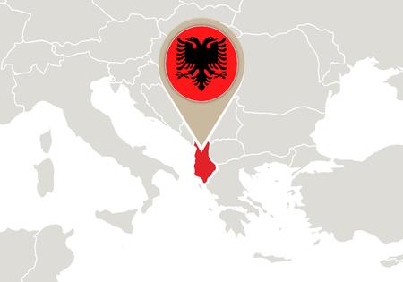 albanie: L'Europe sur la carte en surbrillance et l'Albanie drapeau