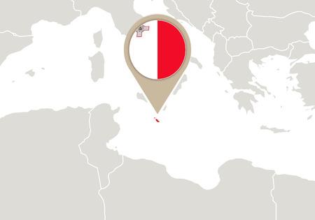 malta: Europa met de nadruk Malta kaart en vlag Stock Illustratie