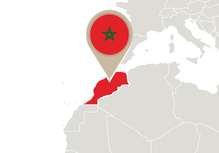 morocco: Africa with highlighted Morocco map and flag