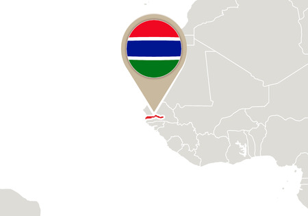 gambia: Africa with highlighted Gambia map and flag