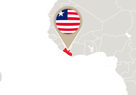 liberia: Africa with highlighted Liberia map and flag