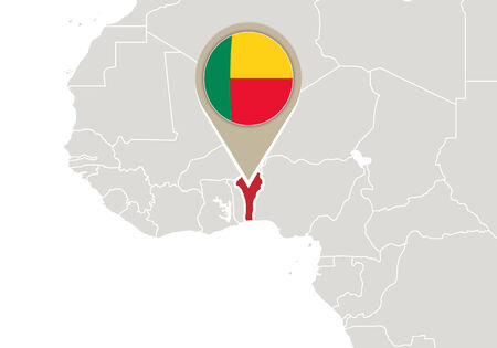 Africa with highlighted Benin map and flag