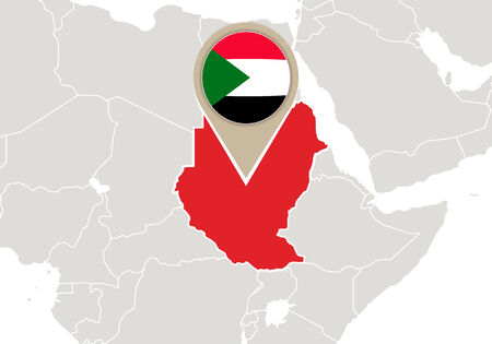 sudan: Africa with highlighted Sudan map and flag Illustration