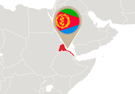 eritrea: Africa with highlighted Eritrea map and flag Illustration