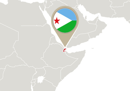 Africa with highlighted Djibouti map and flag Vector