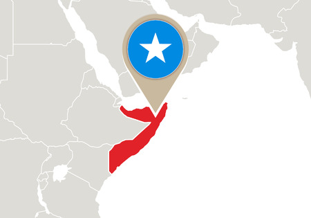 Africa with highlighted Somalia map and flag