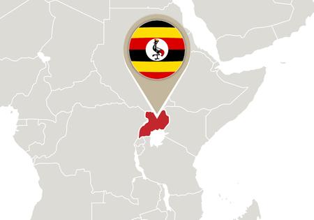 uganda: Africa with highlighted Uganda map and flag