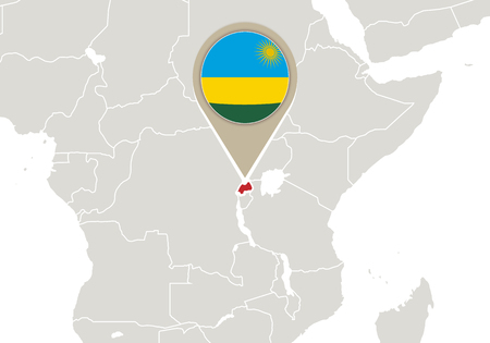 Africa with highlighted Rwanda map and flag