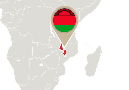malawi: Africa with highlighted Malawi map and flag