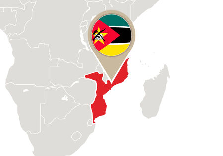 mozambique: Africa with highlighted Mozambique map and flag