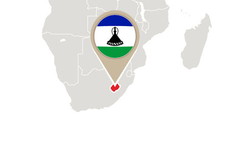 lesotho: Africa with highlighted Lesotho map and flag Illustration