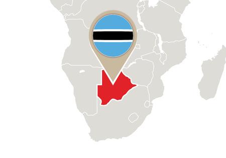 botswana: Africa with highlighted Botswana map and flag