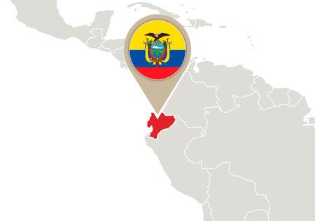 ecuador: Kaart met gemarkeerde Ecuador kaart en vlag