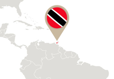 trinidad and tobago: Map with highlighted Trinidad and Tobago map and flag