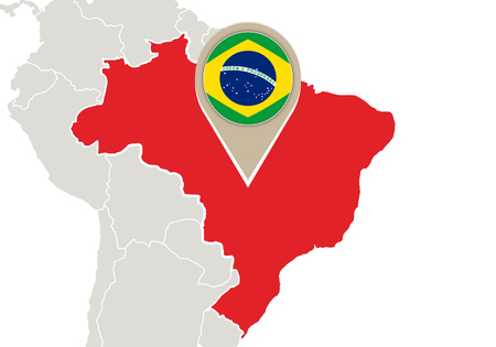 Map with highlighted Brazil map and flag