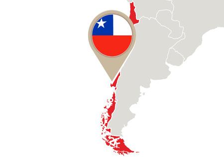 bandera de chile: Correspondencia con el mapa de relieve Chile y la bandera