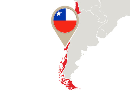 Map with highlighted Chile map and flag