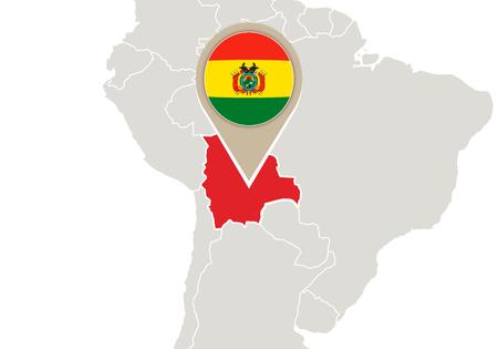 mapa de bolivia: Correspondencia con el mapa de relieve Bolivia y la bandera Vectores