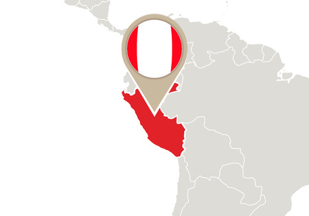 peru map: Map with highlighted Peru map and flag