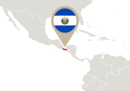 mapa de el salvador: Correspondencia con el mapa de relieve El Salvador y la bandera