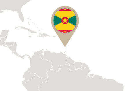 grenada: Map with highlighted Grenada map and flag