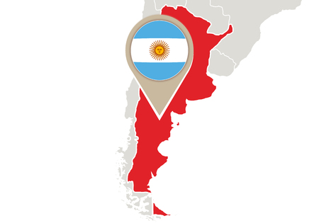 geographical locations: Map with highlighted Argentina map and flag