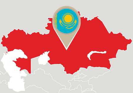 kazakhstan: Map with highlighted Kazakhstan map and flag Illustration
