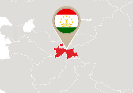 tajikistan: Map with highlighted Tajikistan map and flag
