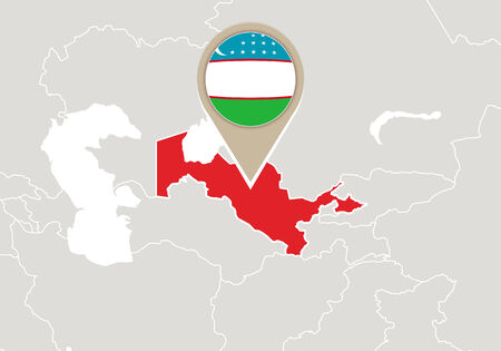 uzbekistan: Map with highlighted Uzbekistan map and flag