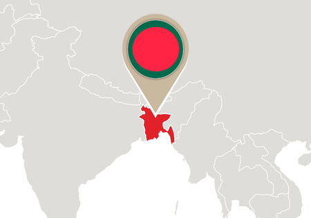 bangladesh: Map with highlighted Bangladesh map and flag