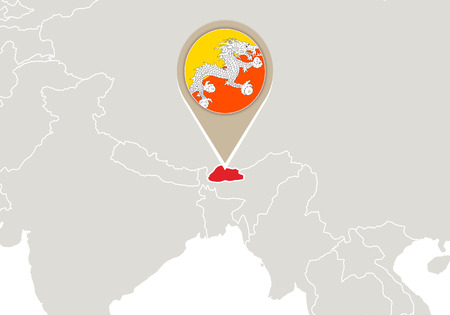 bhutan: Map with highlighted Bhutan map and flag