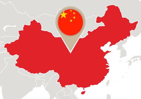 強調表示されている中国の地図とフラグをマップします。 写真素材 - 35575152