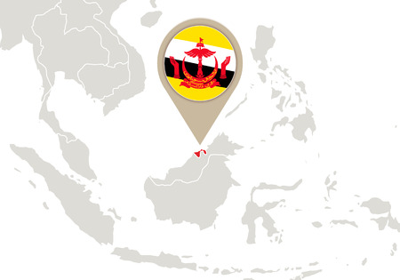 map of brunei: Map with highlighted Brunei map and flag Illustration