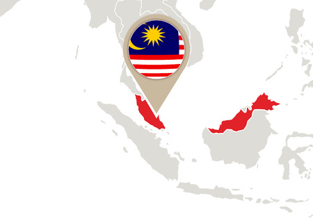 Map with highlighted Malaysia map and flag