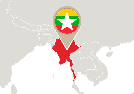 map of asia: Map with highlighted Myanmar map and flag