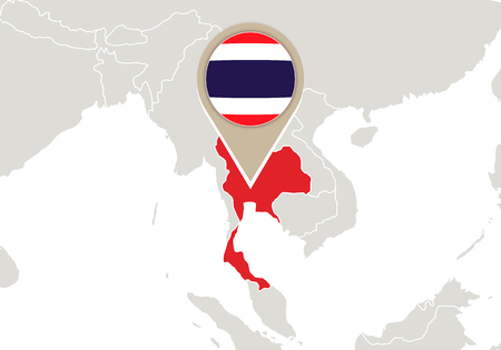 Map with highlighted Thailand map and flag