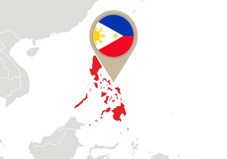 Map with highlighted Philippines map and flag