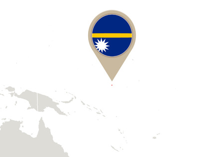 nauru: Map with highlighted Nauru map and flag