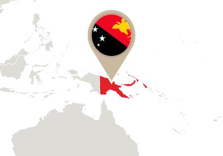 papouasie: Carte de la carte soulign� Papouasie-Nouvelle-Guin�e et le drapeau Illustration
