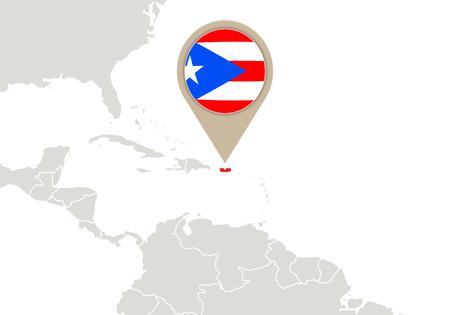 bandera de puerto rico: Correspondencia con el mapa de relieve Puerto Rico y la bandera Vectores