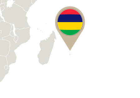 mauritius: Africa with highlighted Mauritius map and flag
