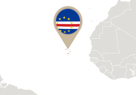verde: Africa with highlighted Cape Verde map and flag Illustration