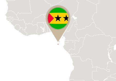 principe: África con resaltado Santo Tomé y Príncipe mapa y la bandera Vectores